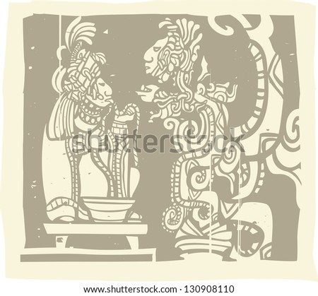 Mayan Lord running rope through tongue in a traditional blood sacrifice in image derived from traditional Mayan temple imagery. - stock photo