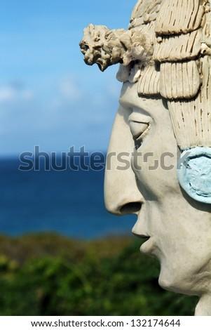 Mayan man statue on Isla Mujeres, Mexico. - stock photo