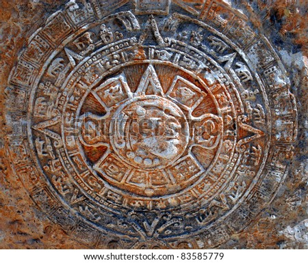 Mayan Mexico ancient ceremonial art - stock photo