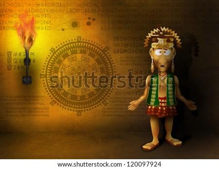 Mayan prophet in a cave draws calendar doomsday - stock photo