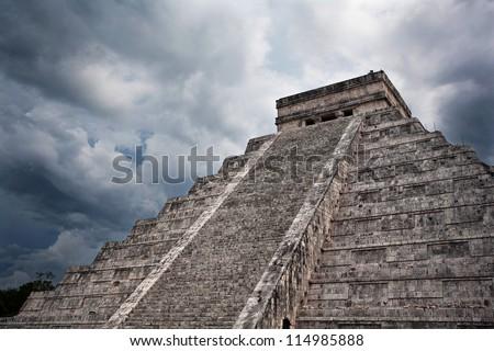 Mayan pyramid, Chichen-Itza, Mexico - stock photo