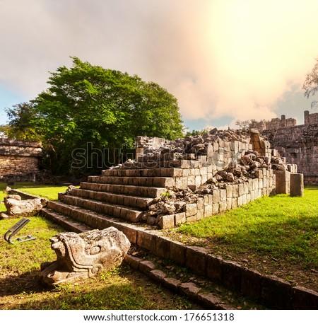 Mayan Pyramid in Chichen Itza Site, Mexico - stock photo