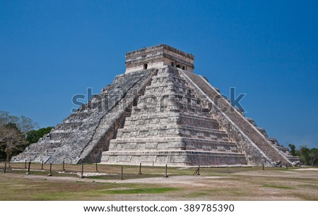 Mayan pyramid of Kukulcan El Castillo in Chichen-Itza (Chichen Itza). Mexico, Yucatan. - stock photo