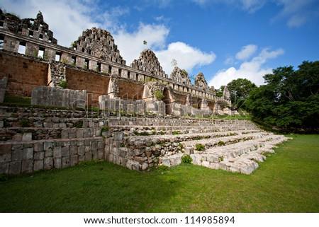 Mayan pyramid, Uxmal, Mexico - stock photo