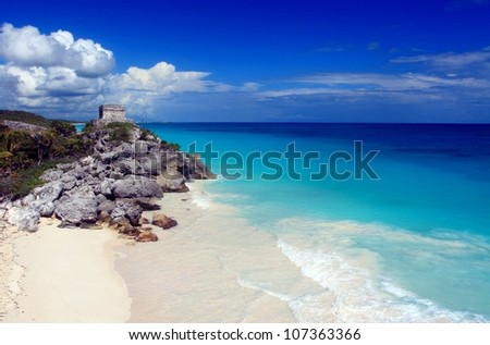 Mayan ruins and beautiful Caribbean beach in Tulum Mexico