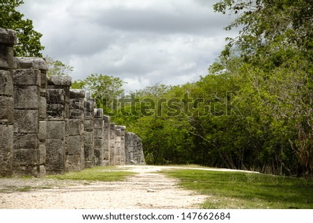 Mayan ruins and the jungle in Mexico - stock photo