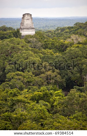 Mayan ruins at tikal guatemala - stock photo