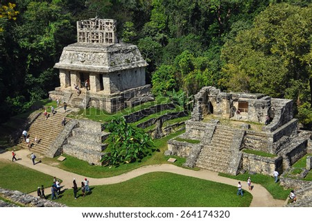 Mayan ruins in Palenque, Chiapas, Mexico. It is one of the best preserved sites, which contains interesting architecture and is popular tourist attraction - stock photo