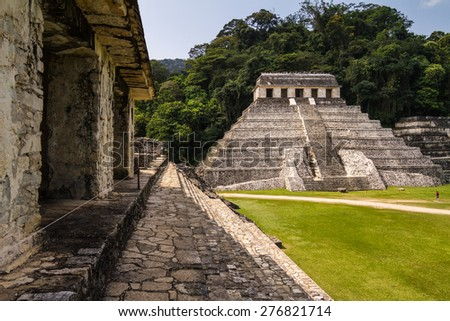 Mayan ruins in Palenque, Chiapas, Mexico. It is one of the best preserved sites, which contains interesting architecture and is popular tourist attraction