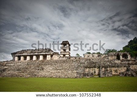 Mayan ruins in the site of Palenque, Mexico. Palace and observatory. - stock photo