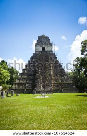 Mayan ruins in Tikal site, Guatemala. - stock photo
