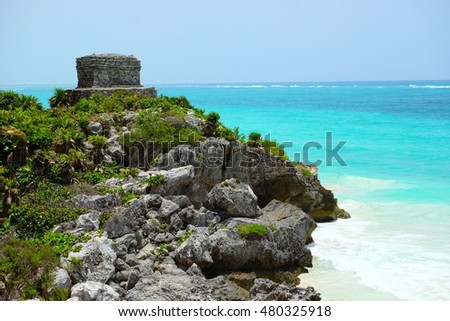 Mayan ruins in Tulum, Mexico, next to the Caribbean sea.