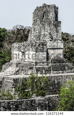 Mayan Ruins of Tikal - stock photo