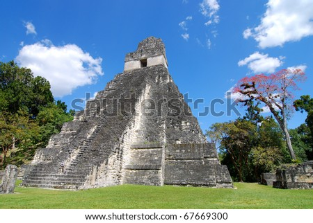 Mayan Ruins of Tikal in Guatemala - stock photo