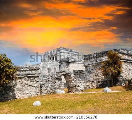 Mayan Ruins of Tulum, Mexico. - stock photo