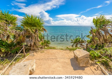 Mayan Ruins of Tulum. Tulum Archaeological Site. Mexico. - stock photo