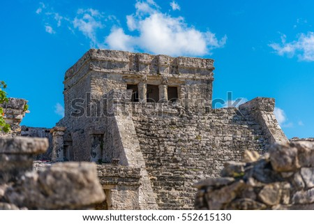 Mayan ruins restorated in Tulum, Mexico. Ancient buildings from the maya empire