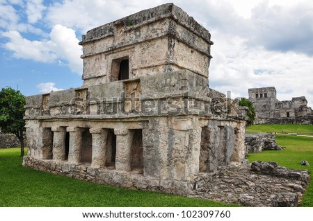mayan ruins - tulum mexico - stock photo