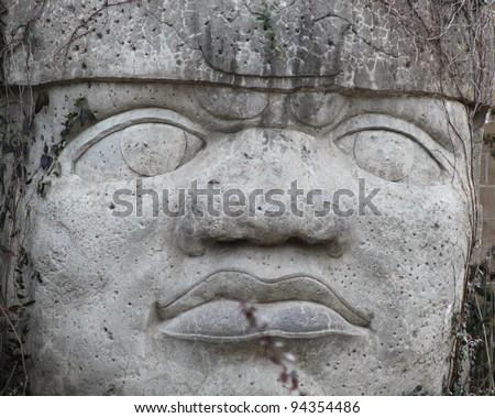 Mayan statute closeup - stock photo