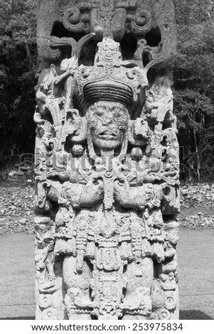 Mayan stela at Copan Ruins, Honduras, Central America - stock photo