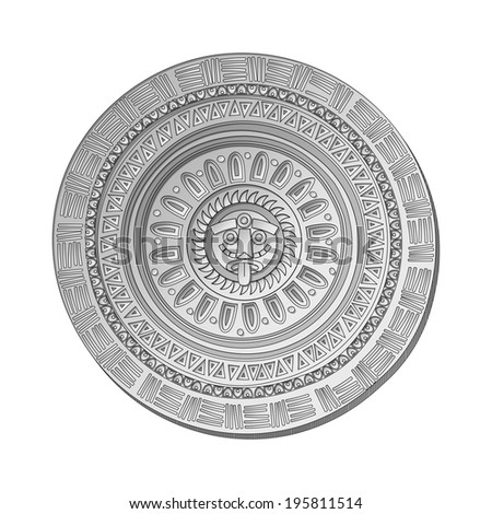 Mayan Sun stone symbol over white background - stock photo