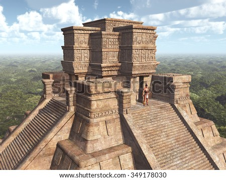 Mayan Temple Computer generated 3D illustration - stock photo