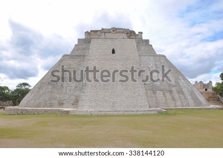 Mayan temple Uxmal front view - stock photo