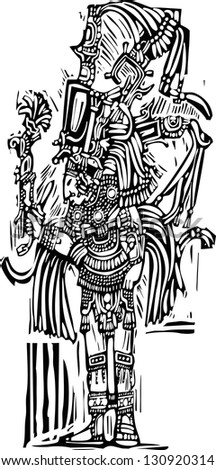 Mayan warrior designed after Mayan Pottery and Temple Images
