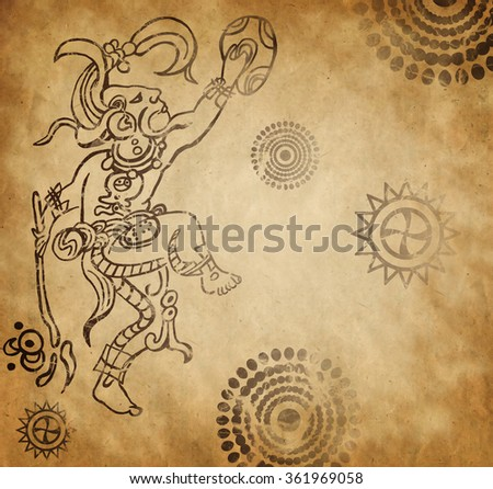 Mayan warrior on old vintage paper - stock photo