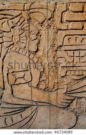 Mayan Warrior Statue - stock photo