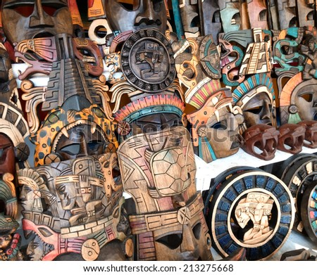 Mayan wooden masks for sale, Mexico.