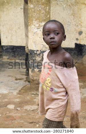 MAYANGE; RWANDA - NOVEMBER 4: Unidentified child from the UN Millenium village on November 4; 2013. It is a village of returnees-who came back to Rwanda after the 1994 genocide. - stock photo