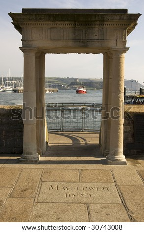 Mayflower Steps Plymouth - stock photo