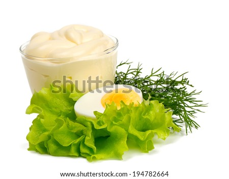 mayonnaise and boiled egg isolated on white - stock photo