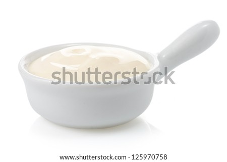 mayonnaise sauce in bowl isolated on white background - stock photo