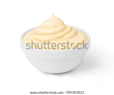 mayonnaise sauce in the bowl