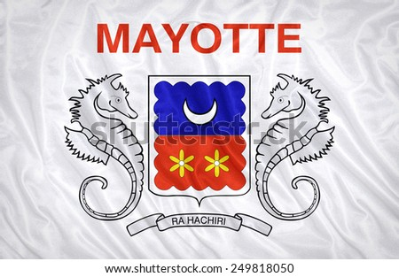 Mayotte flag pattern on the fabric texture ,vintage style - stock photo