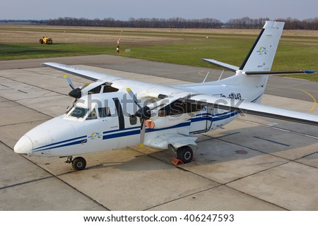 "MAYSKOE, UKRAINE - APRIL 5: Owned by the ""Avia-Soyuz"" airline L410 aircraft used for skydiving on April 5, 2016 in Mayskoe, Ukraine."