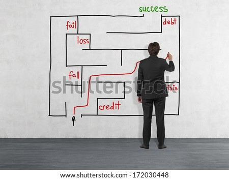 Maze and businessman 6 - stock photo
