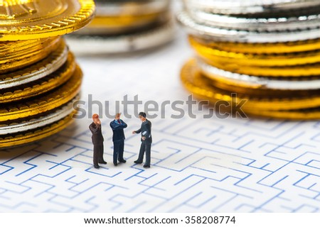 Maze and businessmen, miniature, - stock photo