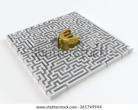 Maze and gold euro sign on a white background