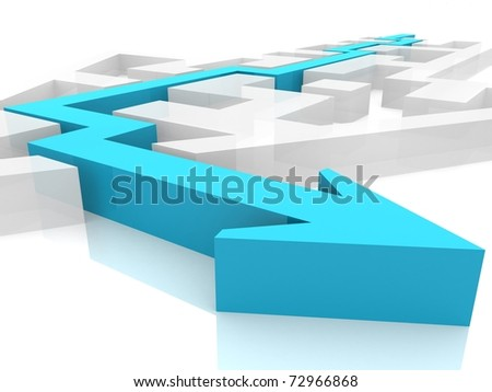 maze as an arrow within which paved the way out - stock photo