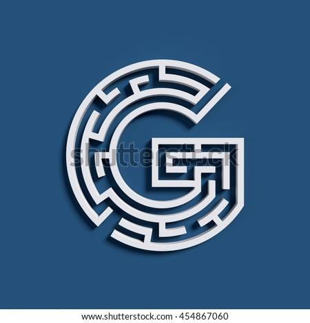 Maze font letter G - stock photo