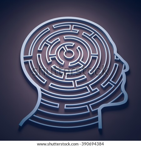 Maze inside a head - cognition and psychology concept - stock photo