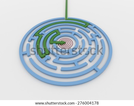Maze labyrinth 3D render with green arrow from outside to center target. Render on a reflective white floor. Problem solving concept - stock photo