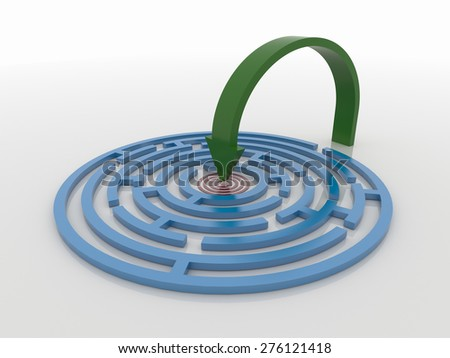 Maze Labyrinth 3D Render with Green Arrow to Target, Smart problem solving concept - stock photo