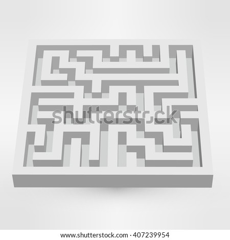 Maze labyrinth puzzle white on grey background. 3D illustration
