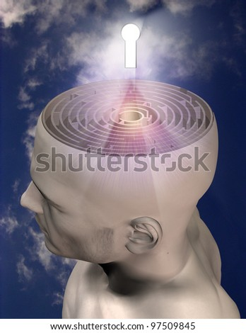 Maze mind and key - stock photo