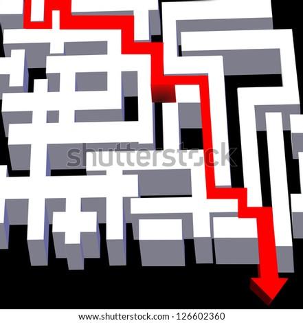 maze red arrow 3d - stock photo