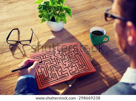 Maze Strategy Success Solution Determination Direction Concept - stock photo
